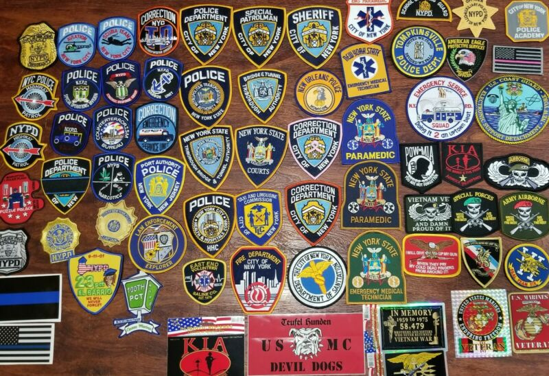 Lot of 59 LAW ENFORCEMENT POLICE Patches VHTF VINTAGE CUSTOM NY NJ NYC Tri-State