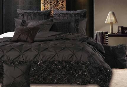 Queen Size Black Floral Sequins Quilt Cover Set(3PCS)