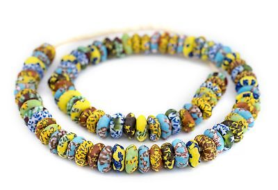 House Medley Fused Rondelle Recycled Glass Beads 15mm Ghana African Multicolor