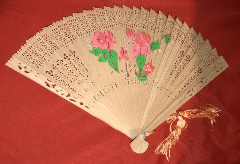 Chinese Wooden Hand Fan w/ Painted Floral Design #1, New
