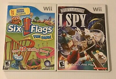 Lot Ultimate I Spy (Nintendo Wii, 2008) and 6 Flags Fun Park. Complete W/ Manual