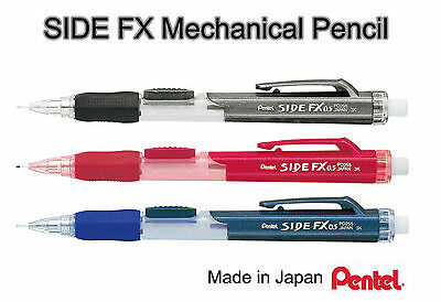 Pentel SIDE FX Mechanical Pencil Side Button 0.5mm Japan Eraser PD255 Soft Grip