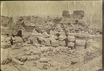 Athens, Acropolis Erechtheion albumen photo of excavated foundation c. 1890