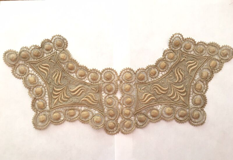 Antique Victorian Embroidered Lace Dress Yoke Collar Trim Piece