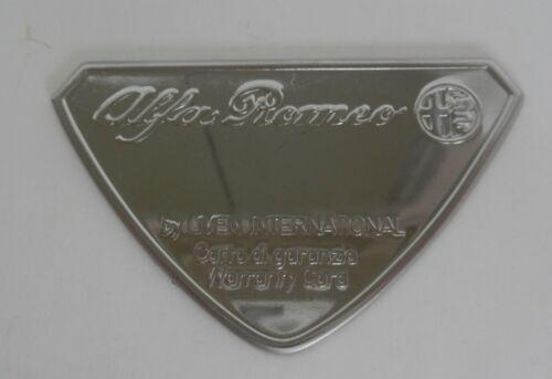 1981 ALFA ROMEO SPIDER VELOCE metal warranty card plaque