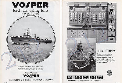 VOSPER Ltd - Minesweeper HMS CONISTON .. WHIPP & BOURNE - HMS HERMES 1960 ADVERT
