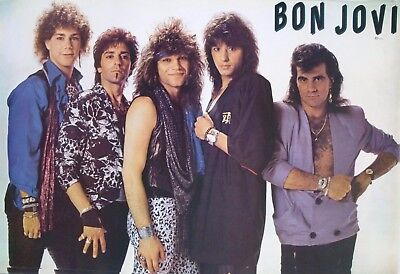 """BON JOVI """"YOUNG GROUP SHOT"""" POSTER FROM ASIA - 80's Classic Rock Hair Band!"""