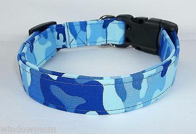 BLUE KICKIN URBAN CAMO Terri's Dog Collar hand made adjustable charming fabric  Urban Blue Camo