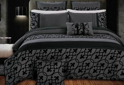 Super King Flocking Charcoal Black Quilt Cover Set (3PCS)