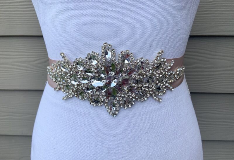 Crystal Rhinestone Wedding / Bridal Champagne Sash Belt