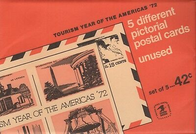 Scott UX61-63 UXC12-13 Five Different Tourism Year of the Americas '72 Postcards