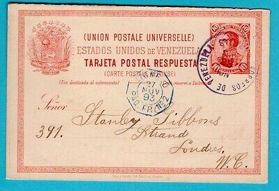 VENEZUELA postal reply card 1893 Caracas + paquebot cancel to England