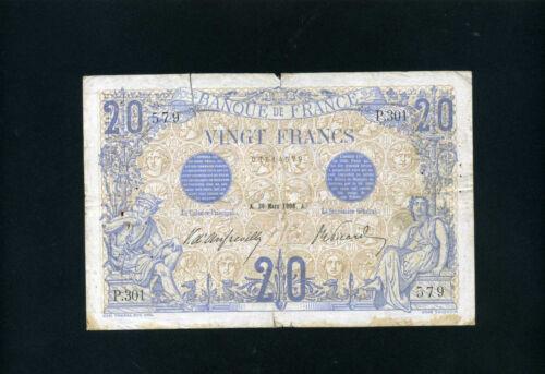 France 20 francs 1906 P68a  -  VG/F