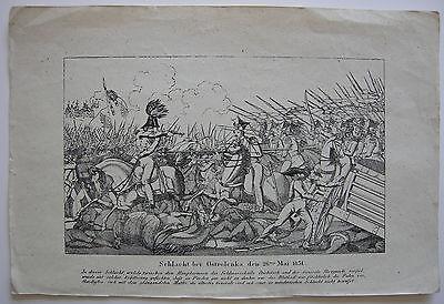 Schlacht bei Ostroleka Polen Unabhängigkeitskrieg 1831 Orig Kupferstich 1840