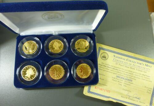 $5 Gold Plated Collectors Proof.Mint Mark Set  National Collectors Mint