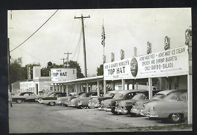 REAL PHOTO ANGOLA TENNESSEE TOP HAT RESTAURANT OLD CARS POSTCARD COPY
