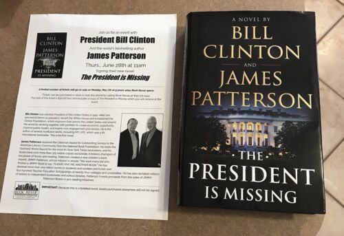 BILL CLINTON JAMES PATTERSON SIGNED AUTO BOOK THE PRESIDENT IS MISSING HC 1ST