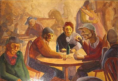 ANTIQUE AMERICAN ASHCAN SCHOOL SOCIAL REALISM OIL PAINTING NY STY HONORE SHARRER