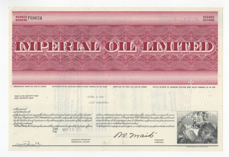 Imperial Oil Limited Stock Certificate CANADA