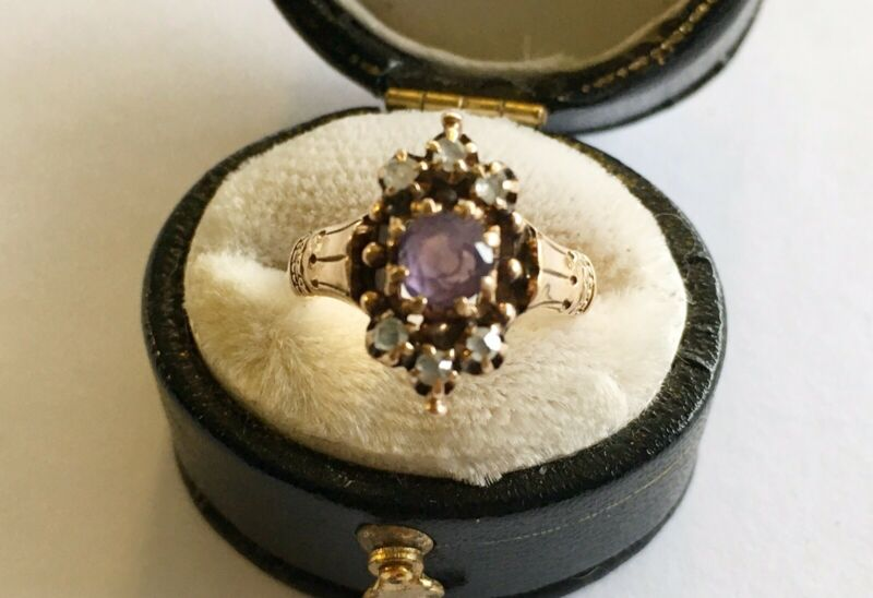 Antique Victorian 10k Ring With Amethyst & Rose Cut Diamonds