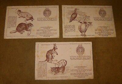 3 anciens buvards cahiers VELIN D'ANGOULEME - animaux N° 1 + 2 + 8 - années 50s