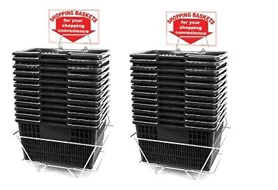 New 24 Standard Shopping Baskets - Chrome Handles - Metal Stand And Sign - Black