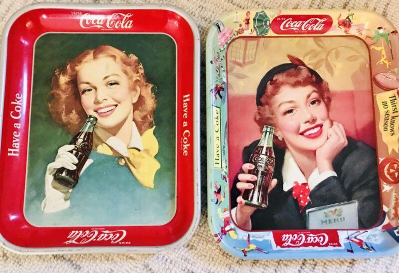 1948 & 1950 Coca-Cola Trays - Coke Girl Red Hair ('48) Coke Menu Girl ('50)