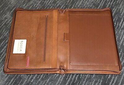 Bosca Correspondent Leather Portfolio Writing Pad Zip Folder