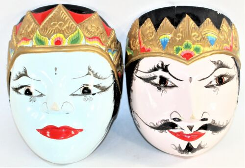 Vintage Indonesia Hand Carved & Painted Wooded Masks King & King Sarinah Jaya