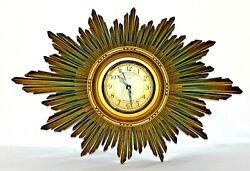 SMITHS ENGLISH ART-DECO, GOLD GILT SUNBURST WALL CLOCK