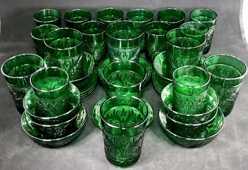 Anchor Hocking Forest Green Sandwich Glass 38 Tumblers Juice Fruit Cups Bowls &