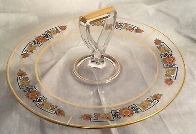 Vintage Glass Sandwich Plate Shovel Handle Greek Key Floral Enamel Gold Trim