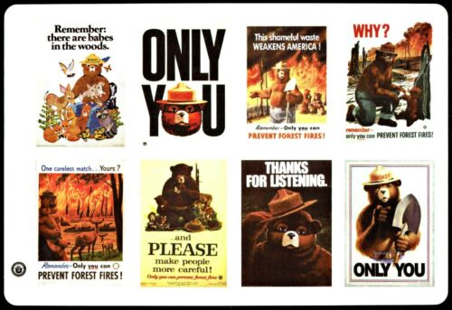 ⫸ Set of 8 Peel-off Smokey Bear Stickers featuring the most popular Posters