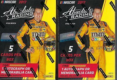 (2) 2017 Panini Absolute Racing NASCAR New 5ct. BLASTER Box AUTO  /MEM