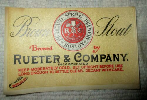 HIGHLAND SPRING BREWERY BROWN STOUT Label - BOSTON MASS-RUETER & COMPANY