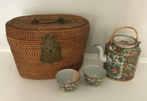 Antique Chinese Famille Rose Medallion Teapot Set w/2 cups and Basket