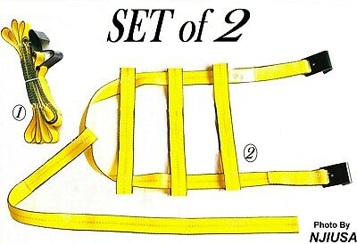 Set of 2 Tow Dolly Straps Basket Strap w/ Flat Hook Heavy Duty Yellow Car Tire