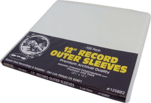 "(100) 12"" SUPER CLEAR 2mil Record Outer Sleeves Vinyl Bags BOPP Flush Cut 12SB02"