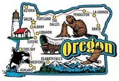 (Oregon Jumbo State Map Fridge Magnet)