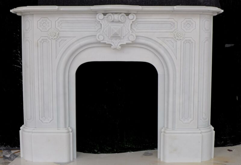 BEAUTIFUL VICTORIAN STYLE HAND CARVED MARBLE FIREPLACE MANTEL - RL1