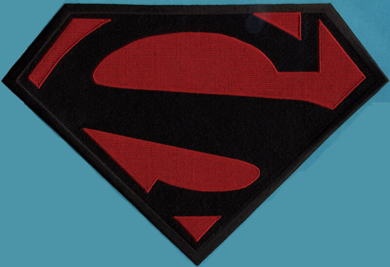 """7"""" x 10"""" Large Embroidered Superman New 52 Black & Red Cape Logo Patch"""
