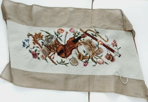 VTG Finished Handmade Needlepoint Tapestry Canvas Embroidered Musical Instrument