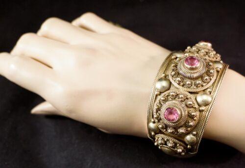 Heavy Siam Gold over Sterling Silver Vermeil Bracelet Filigree & Pink Stones