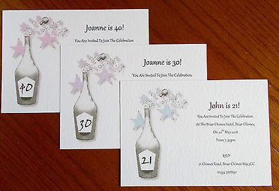 Birthday Invitations Bottle (Personalised Birthday Invitations Champagne Bottle 18th 21st 30th 40th 50th 60th )