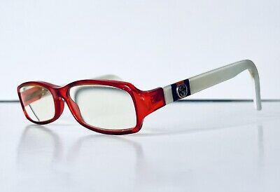 Gucci Red & White Rectangular Acetate Glasses Made In Italy Gucci Monogram (Gucci Red Glasses)