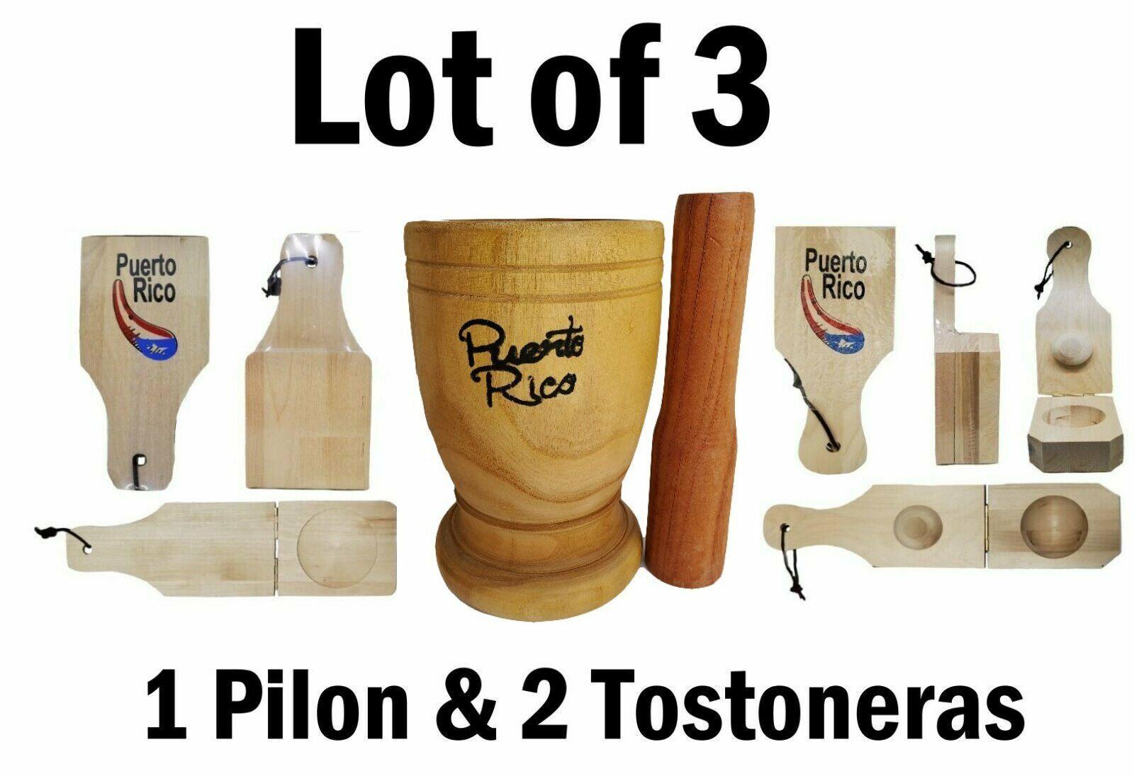 1 stuff Puerto Rico X-Large Size Wood Mortar /& Pestle /& 2 tostonera 1 regular