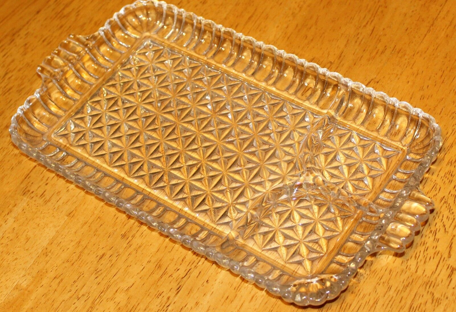 Anchor Hocking SERVA SNACK CLEAR SQUARES/DIAMONDS SNACK SET 1950-60 s 8Pc  - $14.89