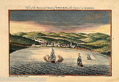 FUNCHAL Madeira Madera Portugal Original Antique Print ca 1753 alte Ansicht