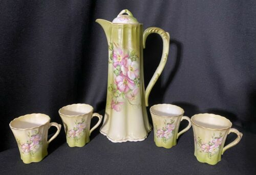 Vintage Nippon Repro Chocolate Pot & 4 Teacups Green Pink Blossoms BEAUTIFUL
