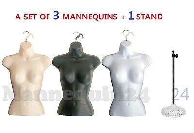 3 Torso Dress Form Mannequins Female Black White Flesh  1 Stand 3 Hangers
